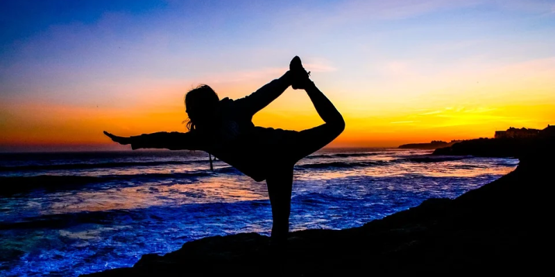 Image of yoga during a sunset