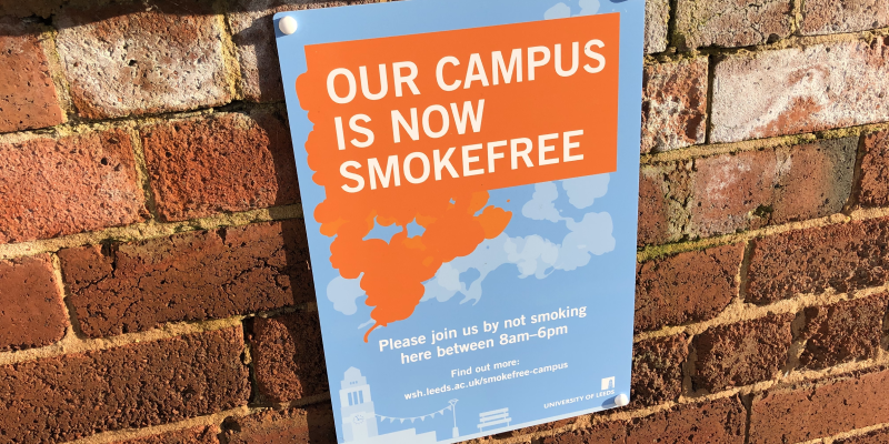 Smokefree campus poster fixed to a wall
