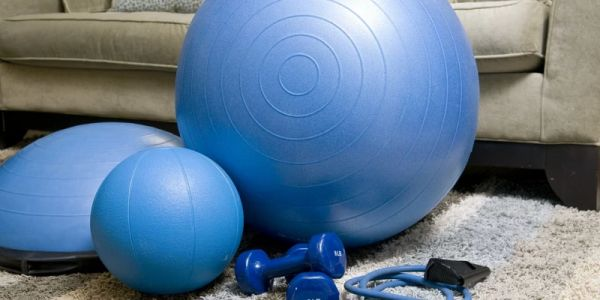 Image of exercise equipment in a living room at home